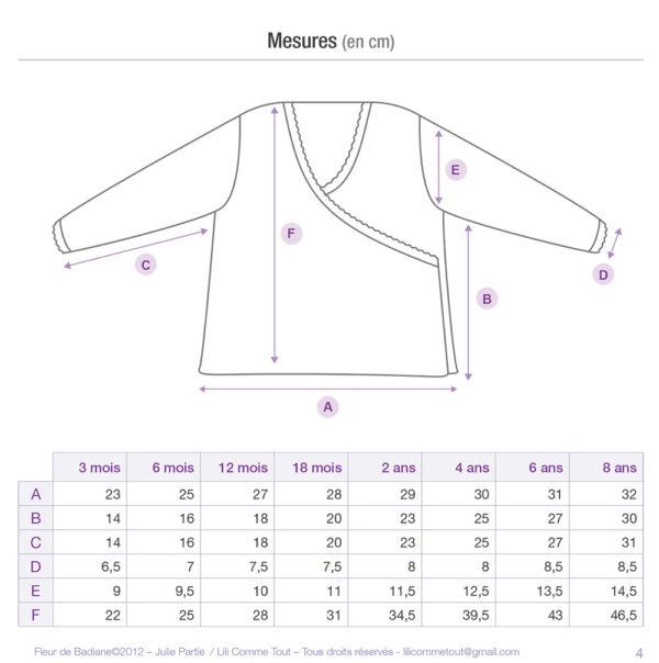 Schematics and measurements of the baby wrap cardigan Fleur de Badiane, a knitting pattern designed by Julie Partie