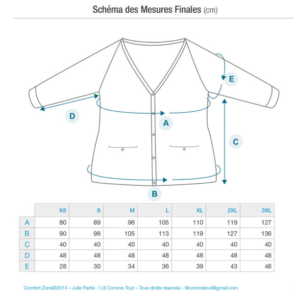 Schematics and measurements of the Comfort Zone cardigan, a knitting pattern designed by Julie Partie