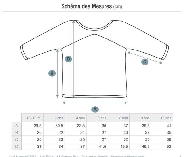 Schema et détail des mesures du pull pour enfants Cool Summer, patron de tricot de Julie Partie pour un pull à rayures et emmanchures raglan