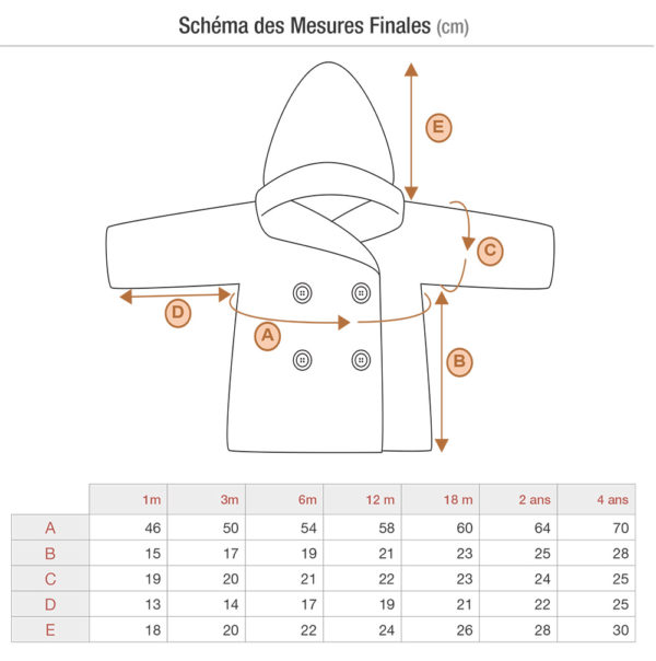 Schematics and measurements of the Jules baby coat, knitting pattern by Julie Partie