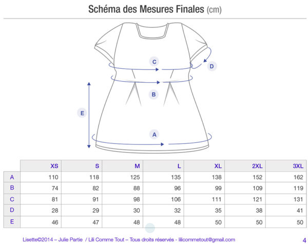 Schematics and measurements of the tunic top Lisette, knitting pattern by Julie Partie for a peplum-style top for women