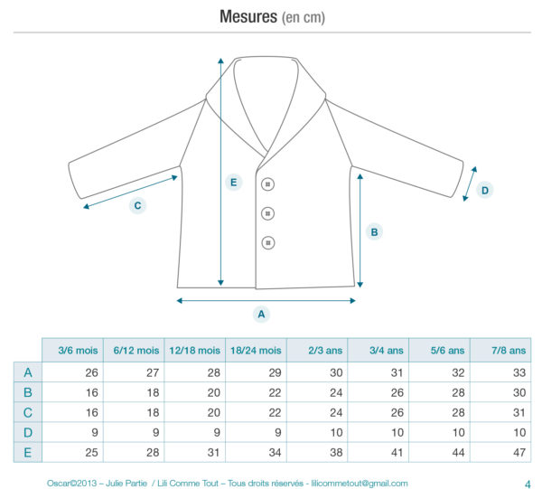 Schematics and measurements of the children cardigan Oscar by Julie Partie