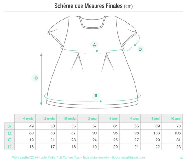 Schematics of the Petite Lisette tunic top, a knitting pattern designed by Julie Partie
