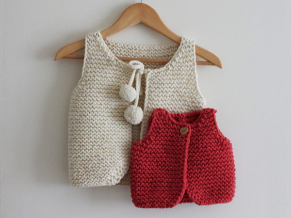 Display of the Lil Shepherd vest, knitting pattern designed by Julie Partie, in two different sizes and styles