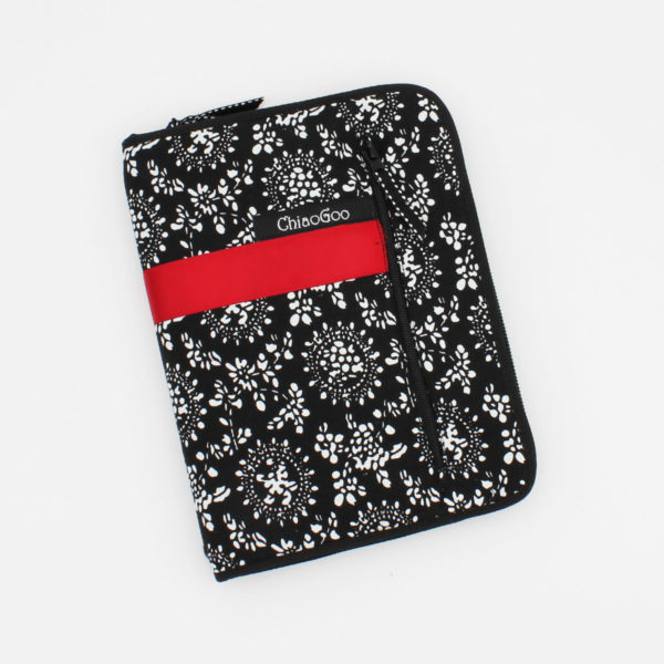 Black and white fabric case with a red band, part of the ChiaoGoo Twist Red Lace interchangeable circular needle set, presented closed on a white background