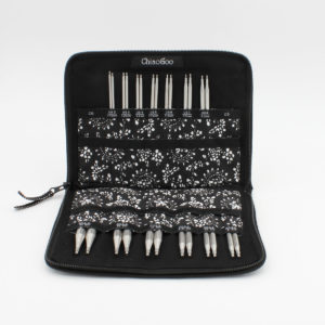 ChiaoGoo Twist Red Lace Interchangeable set, presented with the needle tips organized in the black and white open fabric case