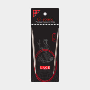 ChiaoGoo Red Lace fixed circular needles in their packaging