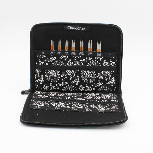ChiaoGoo SPIN interchangeable needle set presented in its open case