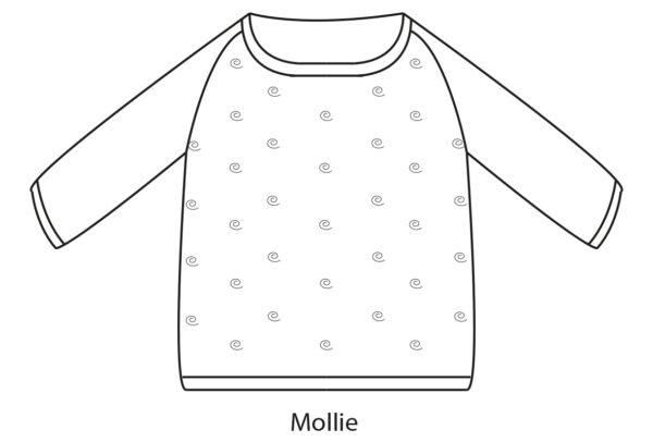 Dessin schématique du pull Mollie de Julie Partie