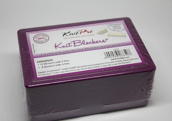 A box of Knit Pro's blockers in its wrappers