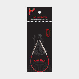 ChiaoGoo Red 23 cm fixed circular needles, in their packaging