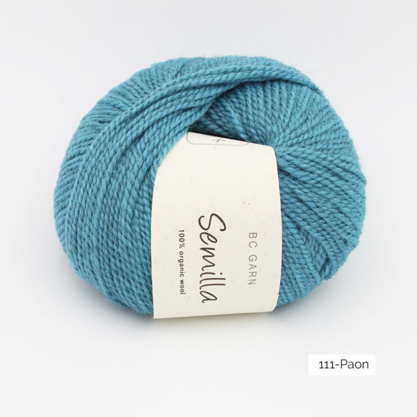 A ball of BC Garn Semilla, in the Paon colorway (light petrol)