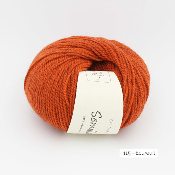 A ball of BC Garn Semilla, in the Ecureuil colorway (squirrel)