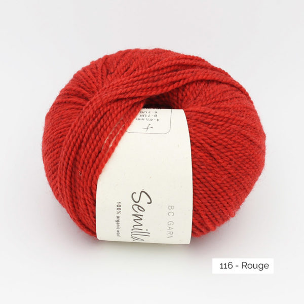 A ball of BC Garn Semilla, in the Rouge colorway (poppy red)
