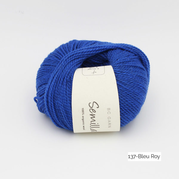 A ball of BC Garn Semilla, in the Bleu Roy colorway (Royal Blue)