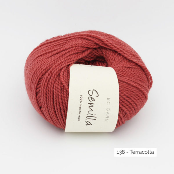 A ball of BC Garn Semilla, in the Terracotta colorway