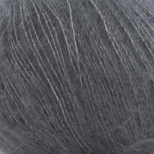 Zoom on a ball of Silky Kid by Kremke Soul Wool in the Anthracite colorway (dark grey)