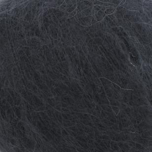 Zoom on a ball of Silky Kid by Kremke Soul Wool in the Noir colorway (black)