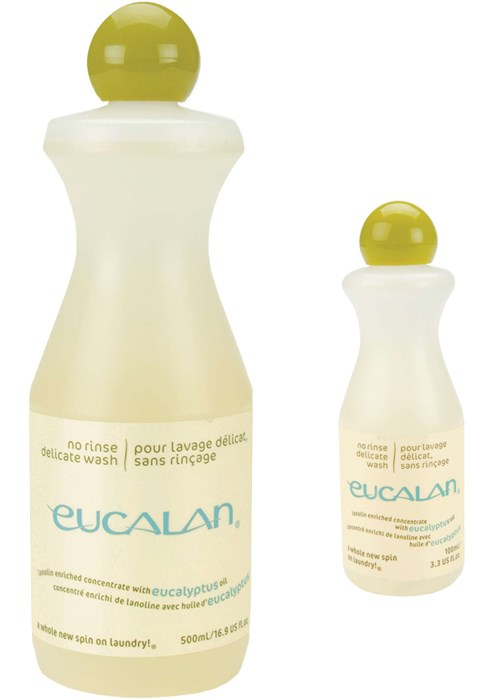 Display of two bottles of Eucalan Delicate Wash Wool eucalyptus scented