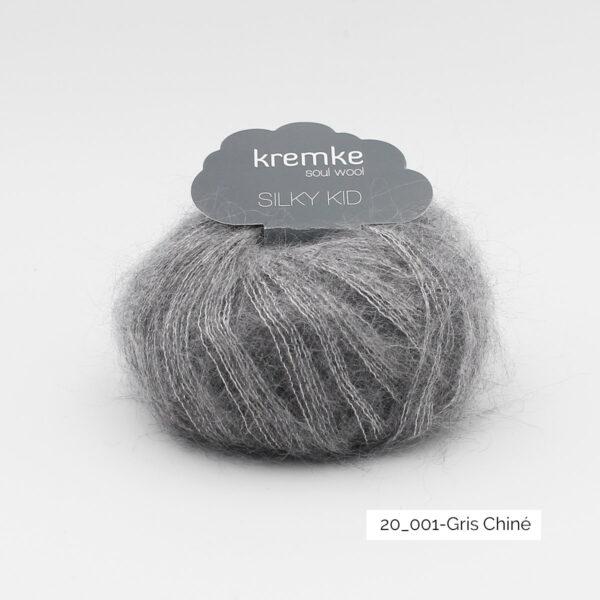 Une pelote de Silky Kid de Kremke couleur Gris Chiné