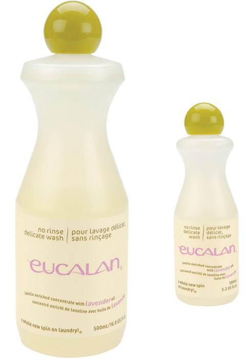 Display of two bottles of Eucalan Delicate Wash Wool lavender scented