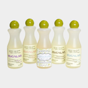 Display of five bottles of Eucalan Delicate Wash Wool