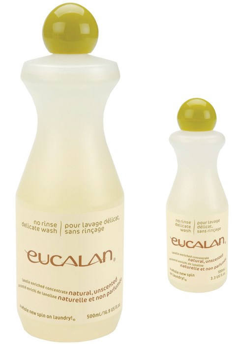 Display of two bottles of Eucalan Delicate Wash Wool unscented