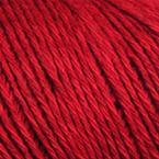 Gros plan sur le fil Allino de BC Garn, coloris 16 (rouge)
