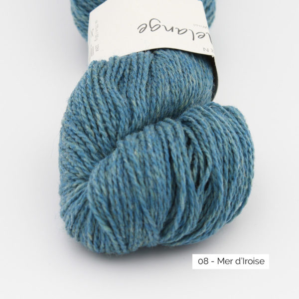 Gros plan sur un écheveau de Semilla Melange de BC Garn coloris Mer d'Iroise (bleu grisé)