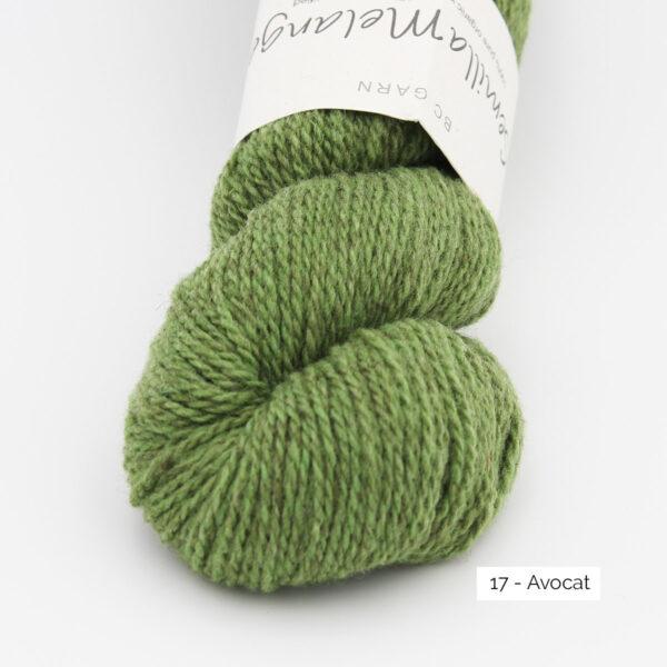 Gros plan sur un écheveau de Semilla Melange de BC Garn coloris Avocat (vert mousse chiné clair et foncé))