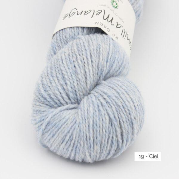 Gros plan sur un écheveau de Semilla Melange de BC Garn coloris Ciel (bleu layette)