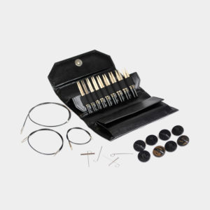 "Complete set of Lykke interchangeable circular 5"" needles, in the natural driftwood finish, inside a black synthetic leather case, with its accessories"