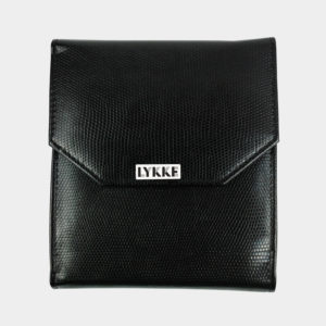 Lykke crochet case, made of synthetic black leather, closed