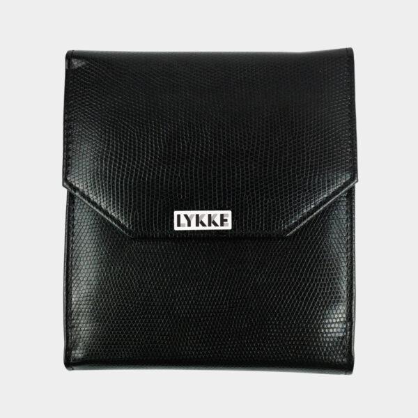 Pochette en simili noir pour crochets Lykke présentée fermée