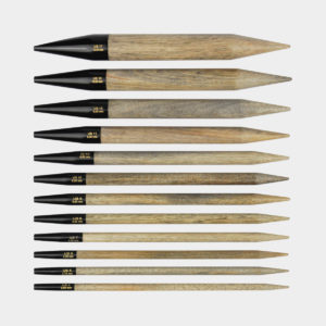 "Lykke interchangeable circular 3.5"" needle tips in the natural driftwood finish"