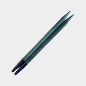 One pair of interchangeable circular needle tips of the Lykke Indigo range