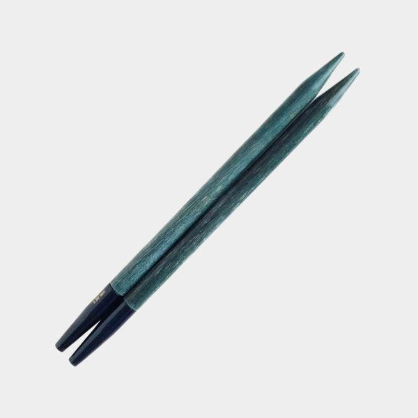 One pair of interchangeable circular needle tips of the Lykke Indigo range
