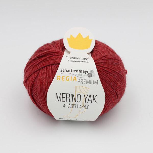 A ball of Regia's Premium Merino Yak in the Grenat colorway (garnet red)