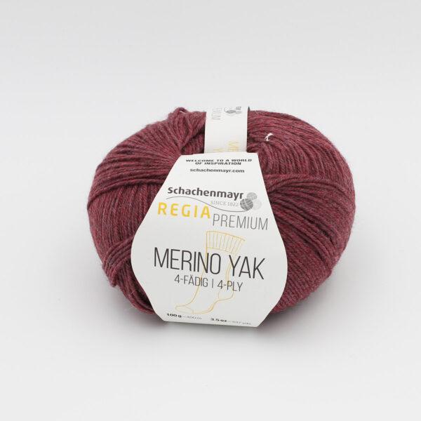 A ball of Regia's Premium Merino Yak in the Raisins colorway