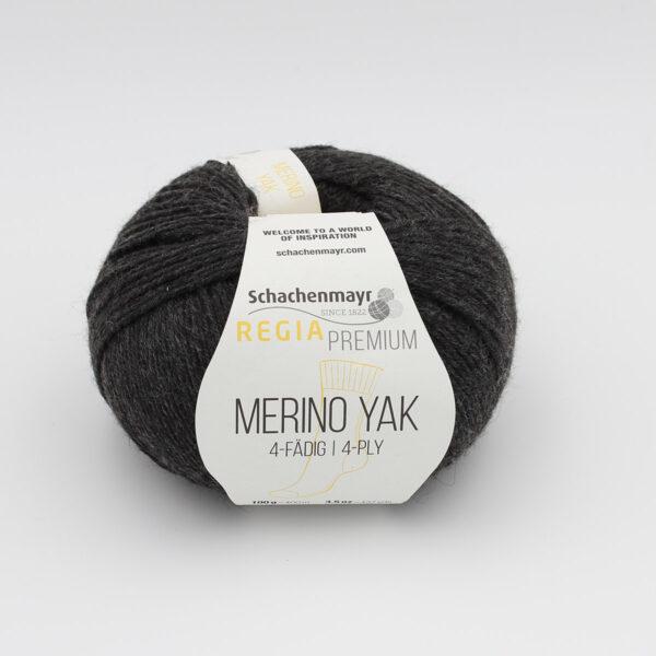 A ball of Regia's Premium Merino Yak in the Gris Foncé colorway (dark grey)