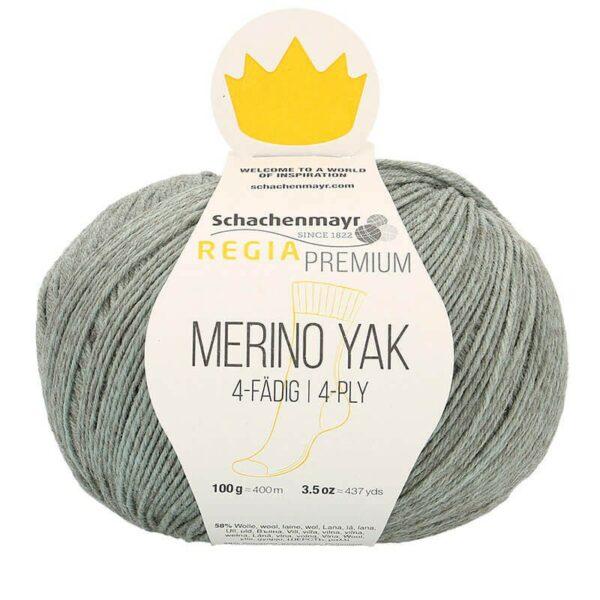 A ball of Regia's Premium Merino Yak in the Menthe colorway (mint)