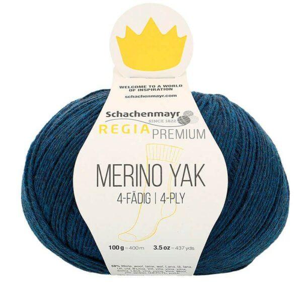A ball of Regia's Premium Merino Yak in the Bleu Nuit colorway (night blue)