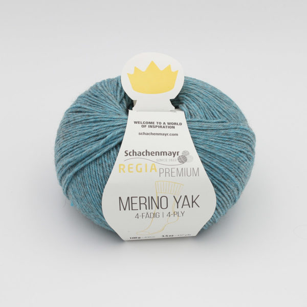 A ball of Regia's Premium Merino Yak in the Mers du Sud colorway (turquoise)
