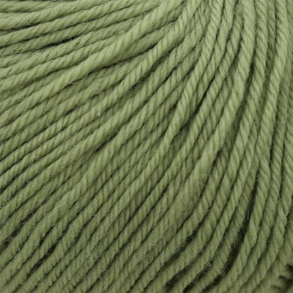 Zoom on a ball of Kremke Soul Wool's Bébé Soft Wash in the Tilleul colorway (sage green)