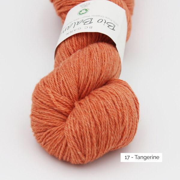 Gros plan sur un écheveau de Bio Balance de BC Garn coloris Tangerine