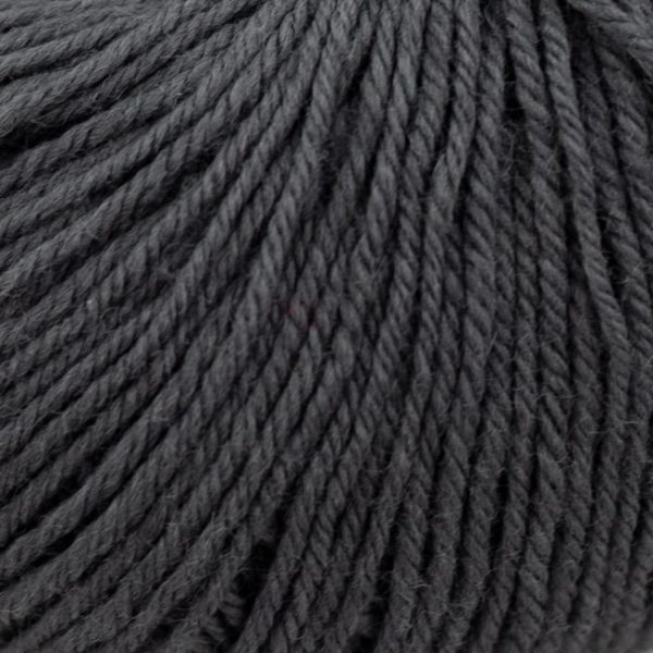 Zoom on a ball of Kremke Soul Wool's Bébé Soft Wash in the Anthracite colorway (dark grey)