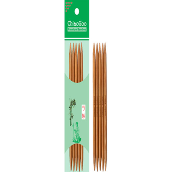 Set of ChiaoGoo double-pointed bamboo needles, presented inside and outside its wrapping