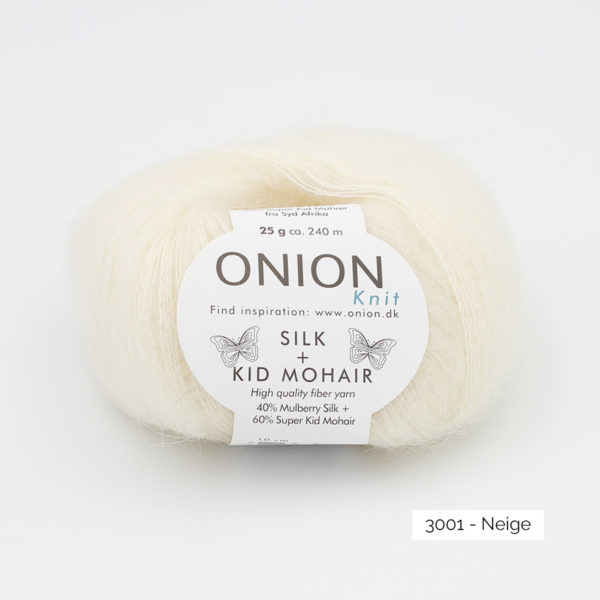 A ball of Onion's Silk + Kid Mohair in the Neige colorway (white)