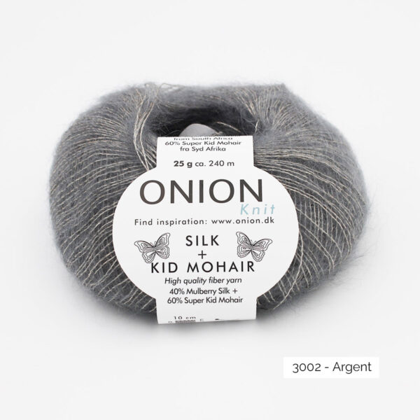 A ball of Onion's Silk + Kid Mohair in the Argent colorway (silver)