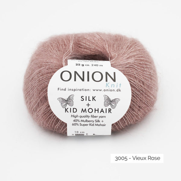 A ball of Onion's Silk + Kid Mohair in the Vieux Rose colorway (dusty pink)